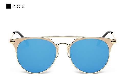 LAMAMAG Sonnenbrille Cat Eye Flache Sonnenbrille Frauen Männer Metall Spiegel Sonnenbrille Damen Oculos Gafas De Sol Lünette Soleil Feminino Mujer, 6