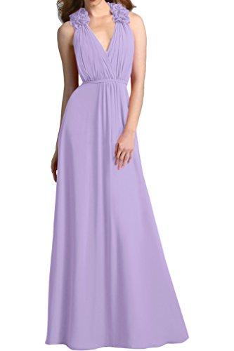Sunvary Traumhaft V-Neck Blumen Chiffon Abendkleid Bodenlang Falte Partykleid Festkleider Lilac