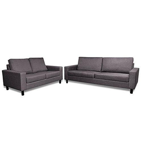 2-sitzer-set (vidaXL Sofa Set 2-Sitzer + 3-Sitzer Stoff Polstersofa Couch Loungesofa + Kissen)