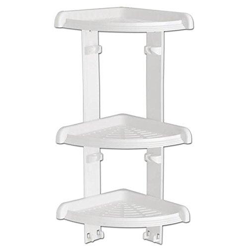 Duschecke - Bad Regal mit 3 Ablagen für Dusche oder Badewanne - Duschablage - Badabalage - Eckregal , Kunststoff Farbe weiß , 49 cm hoch