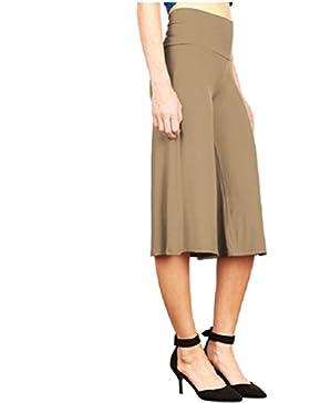 SYGoodBUY Pantalones de Las Mujeres Cintura Alta de Gran Tamaño Pantalones Elegantes Falda 3/4 DE Trabajo Fluido...