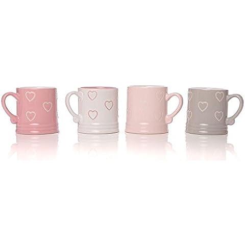 Set comprensivo di 4 tazze per tè e caffè espresso, a forma di boccale, stile vintage, con motivo a cuoricini, in confezione regalo