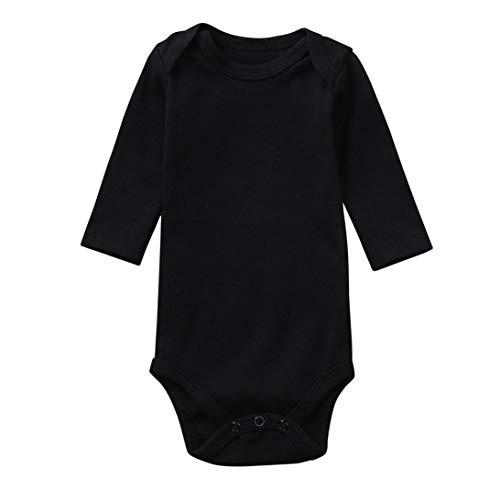 XXYsm Baby Overall Strampler Langarm Spieler Babybody Spielanzug Reine Farbe Kleidung (Schwarz, 6-9 Monate) (Kleidung 80 70 Und)