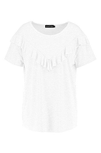 blanc Femmes Plus Ebony T-shirt À Détail Volanté Blanc