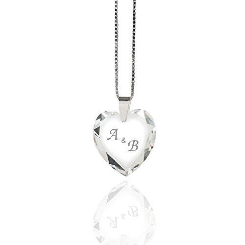 Damen Halskette 925 Sterling Silber mit SWAROVSKI ELEMENTS Herz individuell - Gravur Mit Halskette