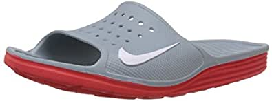 Nike Men's Solarsoft Slide Dove Grey,White,Challenge Red  Sandals and Floaters -11 UK/India (46 EU)(12 US)