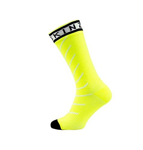 SealSkinz Unisex Erwachsene Socken Mid Length Waterproof, Gelb (Hi Vis Yellow/White/Black), 47-49 EU (Herstellergröße: XL)
