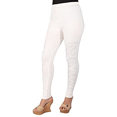 Ayesha Creations Womens Ankle Zig Zag Stone Leggings (White_Free Size) - White Package: Pack of 1