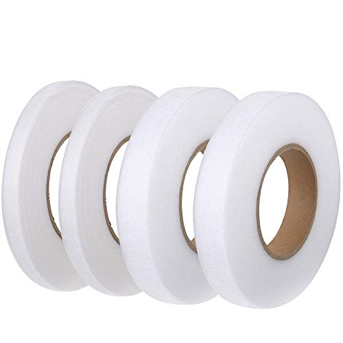 FOGAWA 4 Rollen Saumband, 10mm 20mm Bügelband zum Aufbügeln Nähen 256 Meter Bügeleisen Klebeband beidseitiges weißes Fixierband Nahtband für Vorhang Rock-und Hosensaum Gardinen Jeans -