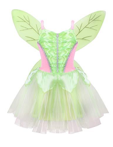 essin Tutu Kleider Feen Kostüm mit Flügel Partykleid Cosplay Festzug Faschingkotüm Halloween Verkleidung Grün Hell 116-128/6-8 Jahre ()