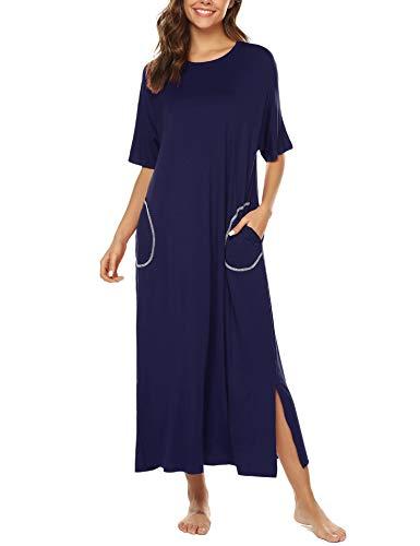 Blue Damen-nachthemd (BESDEL Night Shirt Damen Kurzarm Nachtwäsche Rundhals Nachtkleid Nachthemd Loungewear Navy Blue M)