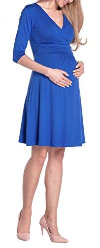 Happy Mama Femme maternité jolie robe de grossesse à manches 3/4 col V 282p Bleu Royal