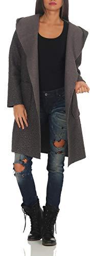 Malito Damen Wollmantel kurz | Boucle Wool | Trenchcoat mit Kapuze | weicher Dufflecoat | Parka - Jacke 9320 (dunkelgrau)