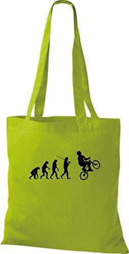 ShirtInStyle Stoffbeutel Jute Evolution Motorrad Fahrrad Biken Stunt Freebike Biker diverse Farbe kiwi