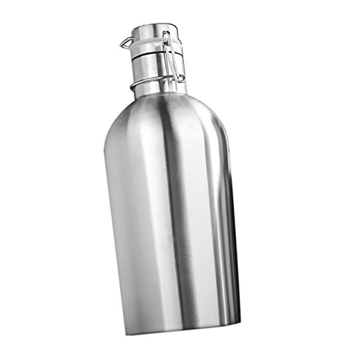 SGerste - Botella de cerveza de acero inoxidable para cerveza, 2 tamaños, color plateado, 2 L
