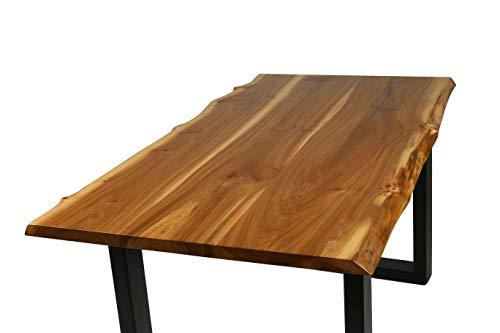 Ambientehome Baumtisch Baumkantentisch Korkulme Gewachst Live Edge ca. 160x80 cm Esszimmertisch Massivholztisch Esstisch Baumkante