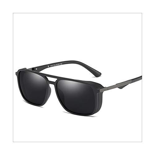 DYFDHA Sonnenbrillen Sunglasses Polarized Men Women Vintage Driving Eyewear UV 400 Square Retro Punk Glasses Female Male Windproof Goggle Matte Black
