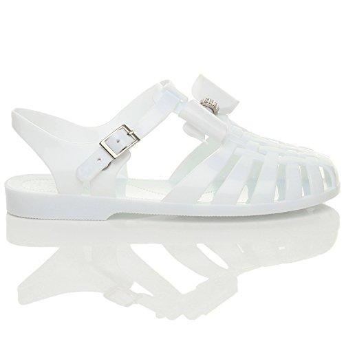 Femmes talon bas plat caoutchouc 90 rétro nœud spartiate sandales gladiateur Blanc
