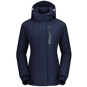 CAMEL CROWN Damen wasserdichte Wanderjacke Regenjacken Outdoor Funktionsjacke Full Zip mit Fleece-Futter, Winddichte…