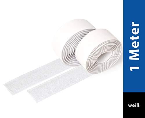 iLP Velcro Adesivo - 1m x 20mm - Bianco - Aderenza Forte, Autoadesivo Hook Loop per Portafoto, Fai da te
