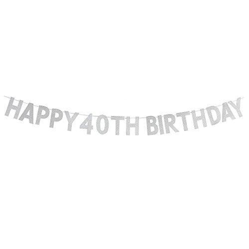WeBenison Happy 40th Birthday Banner-Cheers zu 40Jahre Geburtstag Jahrestag Party Supplies, Ideen und Dekorationen-Silber
