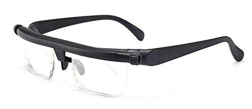 Fokus Einstellbare Lesebrille Myopiebrille -6D Bis + 3D Dioptrien Vergrößerung Variable Stärke (Eye Prescription : Variable Focus, Frame Color : Black)