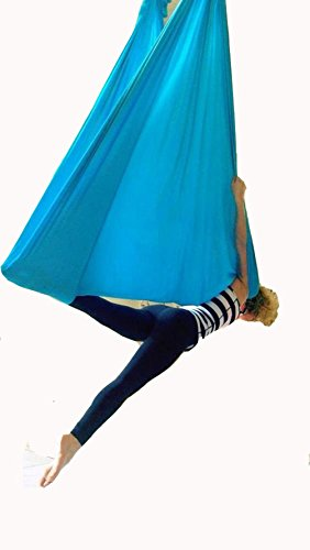 Yoga DIY Silk Pilates Premium Aerial Silks Equipment Aerial Yoga Tuch Aerial Silk elastische Yoga Hängematte NUR Stoff KEIN Zubehör (Blau)