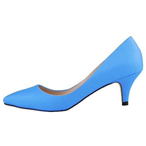HooH Femmes Matte Kitten Heel Bout pointu Work Robe Escarpins Bleu