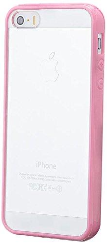 Apple iPhone SE / 5S / 5   iCues TPU Pare-chocs avec Clear Retour Case Light Blue   [Protecteur d'écran, y compris] protecteur de feuille transparente Temps clair de gel de silicone Housse étui de pro KLAR Rosa