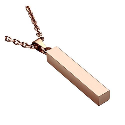"""PiercingJ Personalized Gravur Edelstahl Glatt Stereo-Rechteck Quader Anhänger Halskette mit 24\"""" Kette für Herren Damen, Silber/Gold/Schwarz/Rosagold (Rosagold, mit Gravur)"""