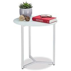Relaxdays Runder Beistelltisch aus Glas und Metall, dekorativer Loungetisch, HxBxT: 51 x 50 x 50 cm, in Trendigem Weiß