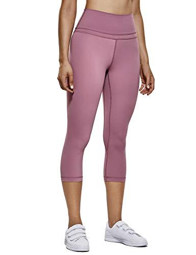 Rosa Capri Leggings (CRZ YOGA Damen Yoga Capri Leggings Sport Hose mit Hoher Taille-Nackte Empfindung -48cm Feige 19'' - R418 L(42))