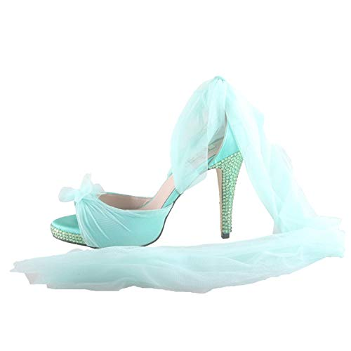 ade Light Pink Ribbon Cross Strap Bridal Wedding Shoes Dress Sandals Women High Heels Shoes Mint Green 5 ()