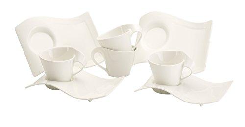 Villeroy & Boch NewWave Caffè Cappuccino-Set, 8-teilig, Premium Porzellan, Weiß