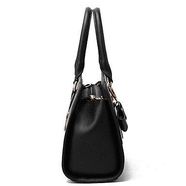 Damenmode PU Leder Bug Schulter Messenger Crossbody-tasche/Handtasche Tote Black