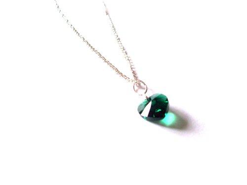 Smaragd-herz-swarovski-ohrringe (Geburtsstein Mai Smaragd Swarovski Herz-Anhänger mit Geschenkbox)