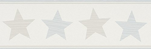 Rasch Bordüre 5 x 0,17 m - Ansatzfrei - Feine Struktur - Stil: Kinder Geometrisch - z.B. Kinderzimmer - Farbe: Taupe Blau Weiß