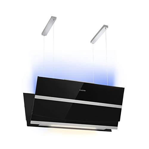 Klarstein Prism Black Edition - Hotte aspirante îlot, 720m³ / h, Fonction Booster, Contrôle tactile avec écran LCD, Minuterie, Couleurs RVB, Convertible en mode de recyclage, Noir