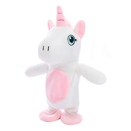 Keep Comfort 25cm Unicornio Caminando y Hablando de Peluche muñeca de Peluche Lindo Suave Animal Caballo de Juguete Sonido Registro Unicornio niños bebé cumpleaños Regalos