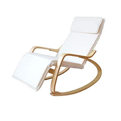 Chaises longues, fauteuils de loisirs, chaises de sieste, chaises longues à bascule en bois massif nordique (Couleur : Blanc)