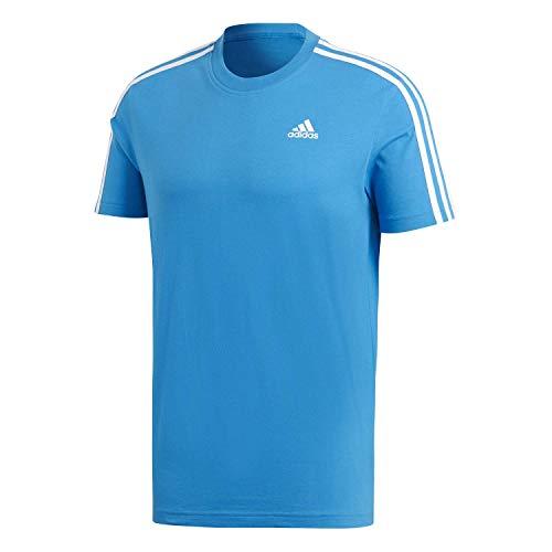 Adidas essentials 3 stripes, maglietta uomo, bright blue/white, l