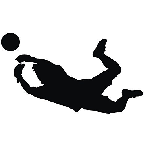 Wadeco Fußball Torwart Wandtattoo Wandsticker Wandaufkleber 35 Farben verschiedene Größen, 35cm x 20cm, schwarz