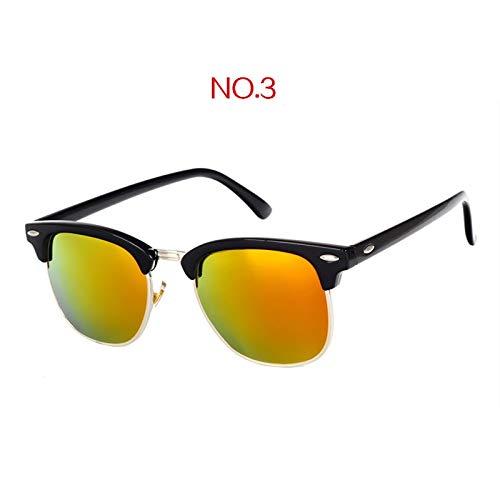 Klassische Polarisierte Sonnenbrille Männer Frauen Retro Markendesigner Sonnenbrille Weiblich Männlich Mode Spiegel Uv400 Sonnenbrille (Frame Color : Multi, Lenses Color : NO3)