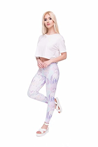 Kukubird Verschiedene Einhorn Flamingo Emoji Patterns Frauen Gym Fitness Leggings Running Yoga Pilates Skinny Hosen Strumpfhosen Größe 8 bis 12 Stretchable Multicolor Set Unicorns