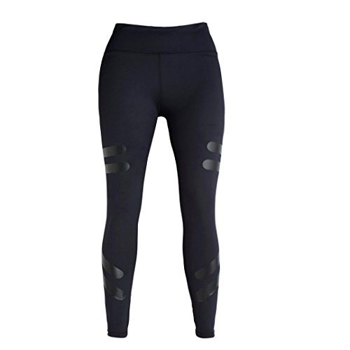 Pantalon de Yoga femmes,Jimma Femmes Yoga legging sport pantalons taille haute Running Fitness Gym pantalon Stretch Noir