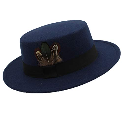 GOUNURE Frauen Klassische Vintage Wide Brim Pork Pie Hut Elegante Wollfilz Fedora Hats Boater Jazz Cap mit Feather Black Band -