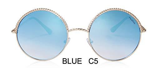 LKVNHP Spirale Kette Metall Brand Design Runde Sonnenbrille Unisex Spiegel Mode Trendy Damen Sonnenbrille Gradient GoldMTYJ007 Blue C5