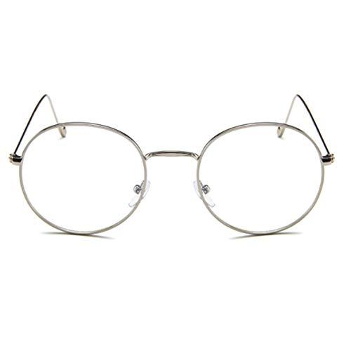 Runder literarischer Metallglasrahmen Ultraleichter Glasrahmen Trendige Brille Retro mit Myopie-Flachspiegel - Silberweiß