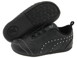 Puma Shoes Sela Diamond Rhinestone Infant Toddler Black Sneakers (6 M US Toddler)