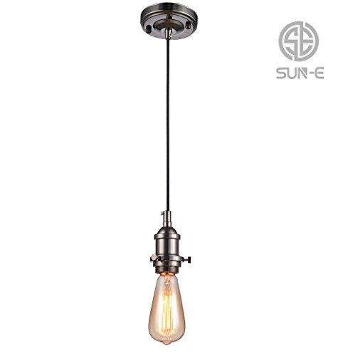 Sun e vintage lampada a sospensione, retro antico edison lampada a sospensione lampada di, e27portalampada a 3fili cavo in tessuto (senza lampadina), nero, e27 60.0 wattsw